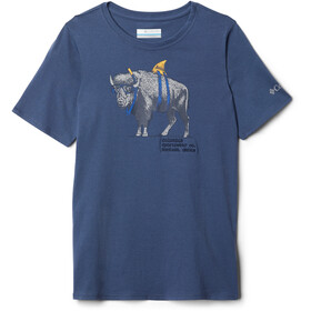Columbia Peak Point Camiseta Niños, dark mountain/sharkalo graphic